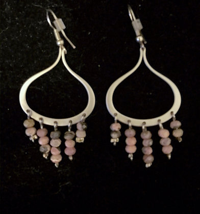 Silver Chandelier with Rhodonite Drops