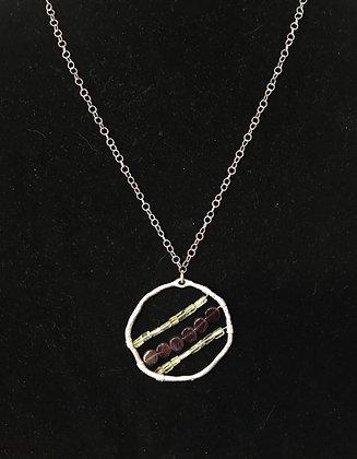 Silver Hoop with Peridot and Garnet Crystals