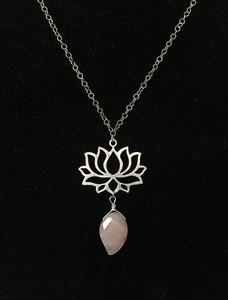 Silver Lotus Flower with Rose Quartz Drop