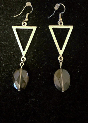 Silver Triangle with Faceted Smoky Quartz Drop