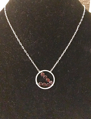 Garnet and Silver Hoop Necklace