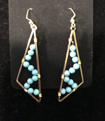 Gold Triangular Earrings with Turquoise Crystals
