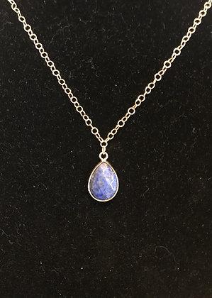 Gold Necklace with Lapis Lazuli Teardrop