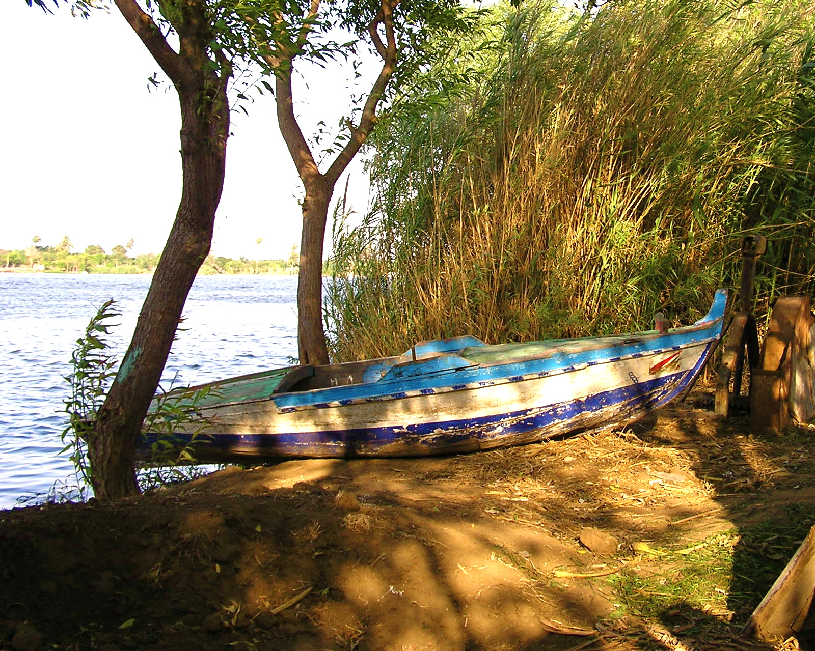 Boat of the bank of Nile River
