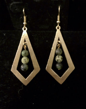 Gold Earrings with Chrysoprase