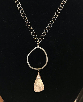 Gold Big Hoop Necklace with Crystalized Fossil