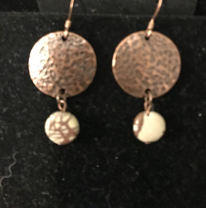 Copper Disc Earrings with Picasso Jasper Crystals