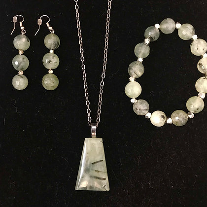 Silver Set of Phrenite with Epidot Inclusions