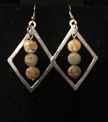 Silver Earring with Picasso Jasper Crystals