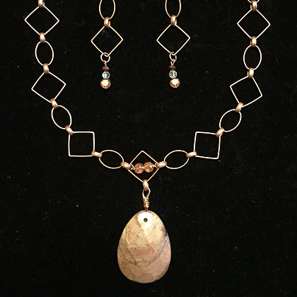 Release! Antiqued Copper and Rhodonite Necklace (Set) & Earrings
