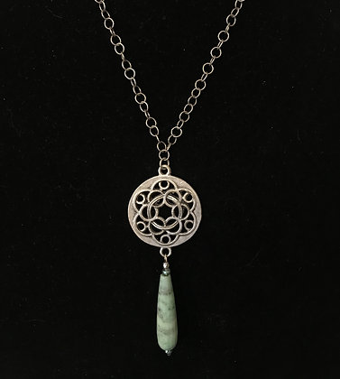 Antiqued Silver with Chrysoprase Drop