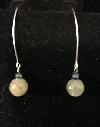 Silver Drop Earrings with Phrenite/Epidot