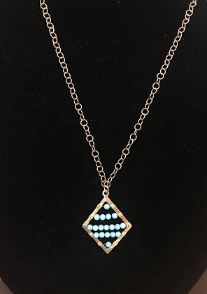 Long Gold Necklace with Turquoise