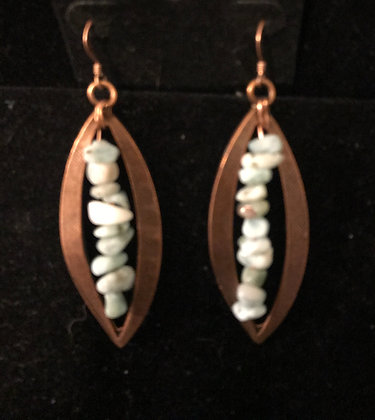 Large Copper Earrings with Larimar Crystal Chips