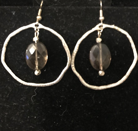 Silver Hoops with Faceted Smoky Quartz