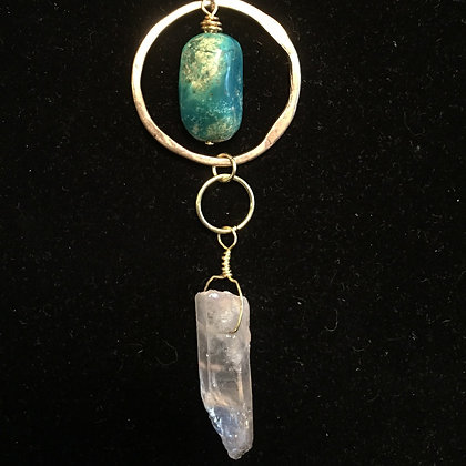 Balancing Act! Gold, Aura Quartz & Turquoise Necklace