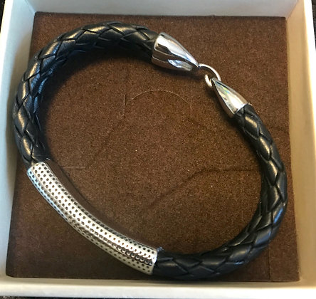Men's Double Black Leather Rope with Silver