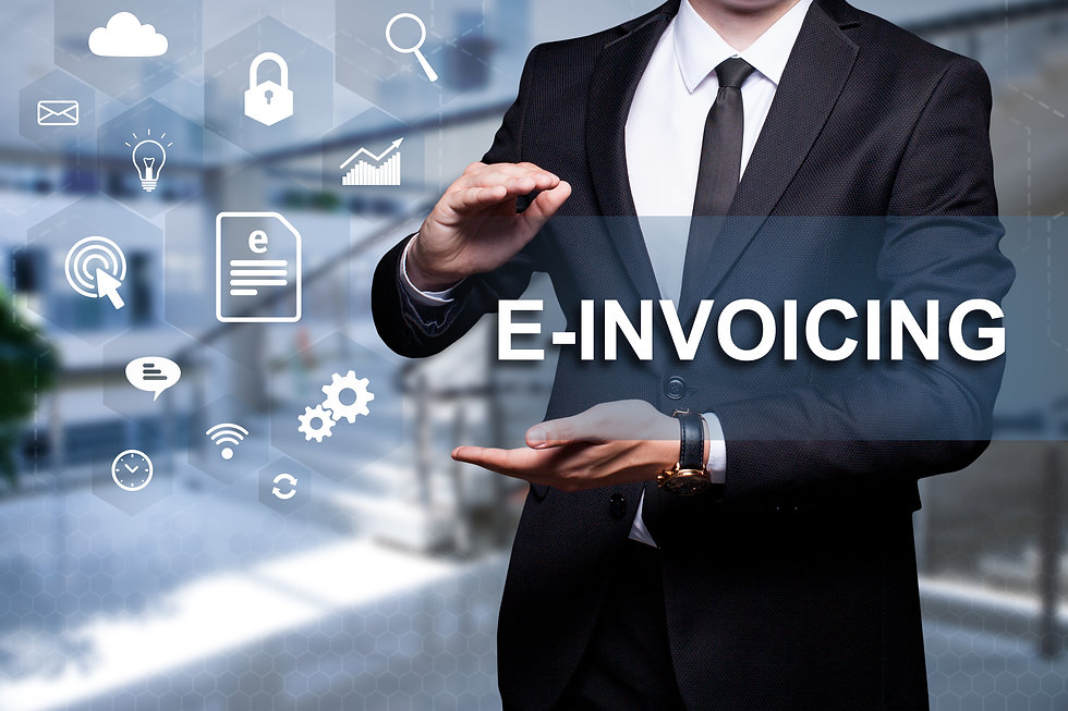 "White icon with text ""E-Invoicing"" in th"