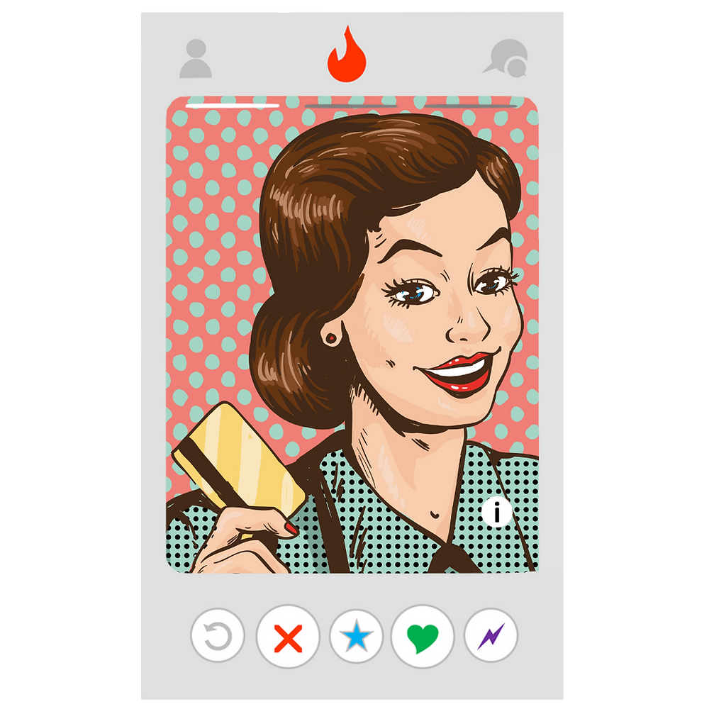 Woman in pop art style holding a credit card within a frame resembling the online dating platform, Tinder