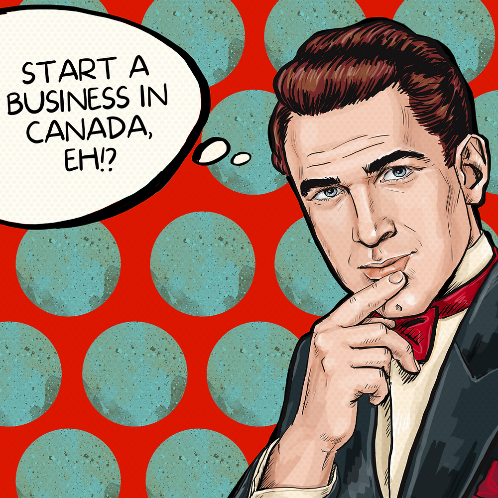 """pop art business man thinking to himself, """"start a business in canada, eh!?"""""""