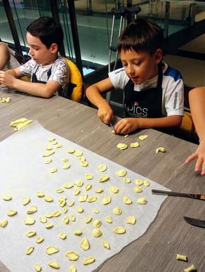 Kids making fresh pasta