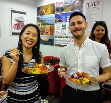 Happy students Italian social lunch