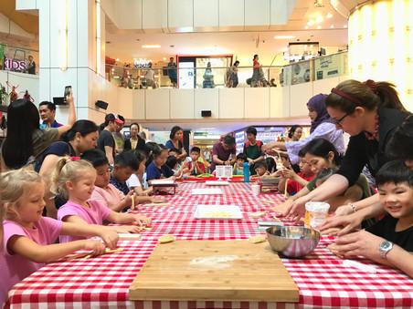 Kids learning fresh pasta