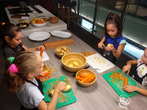 Kids learn healthy recipes