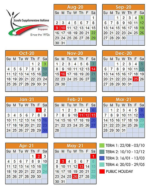 Italian Supplementary School Singapore Calendar