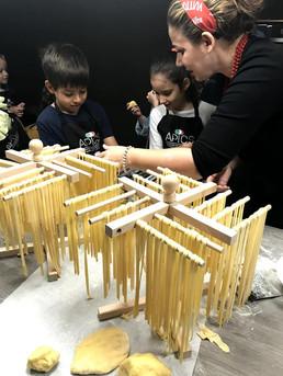 Kids make fresh pasta