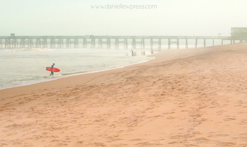 Foggy Surfing surfer red sunset florida beach water danielle w press colorful landscape tr