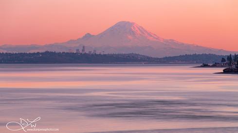 mt rainier mountain volcano sunset pink water danielle w lundberg danipress photography wa