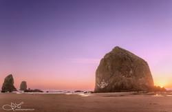 Haystack with Purple Sky