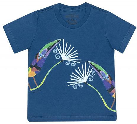 Camiseta de meia malha araçari e embiruçu