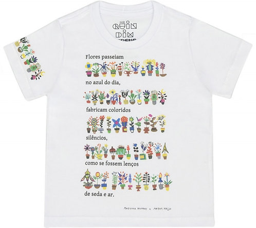 Camiseta meia malha poema e flores