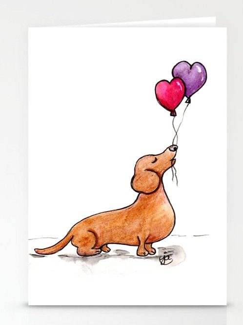 Doxie with Heart Balloons