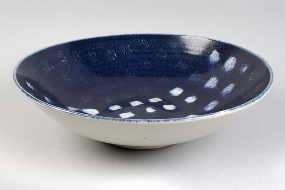 Porcelain Large Bowl with Blue glaze