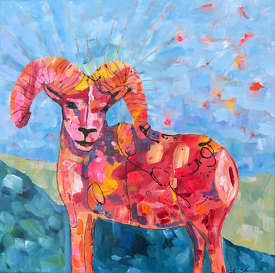 Bighorn Sheep in Red