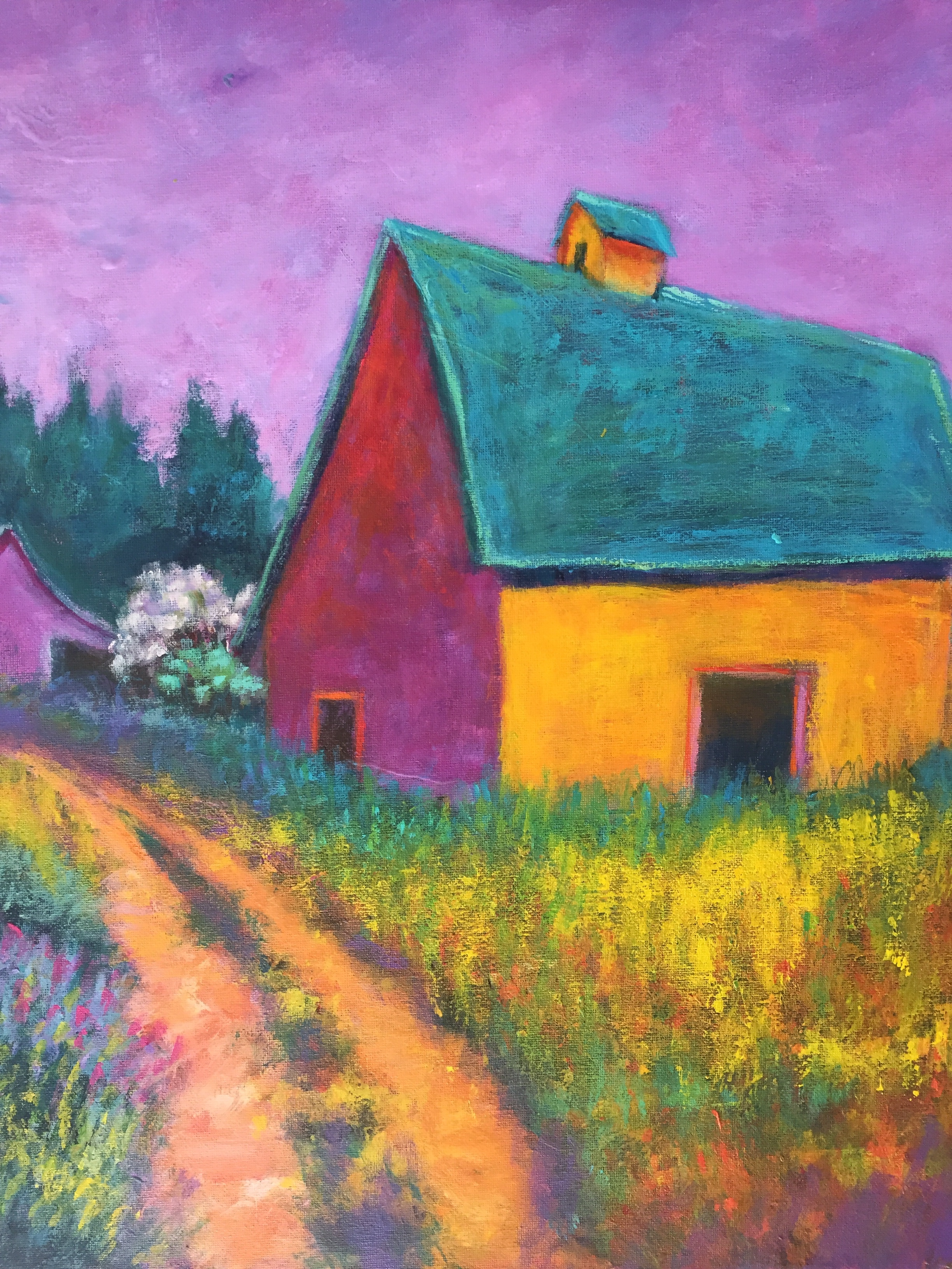 Violet Meets Gold Barn 16 x 20 acrylic $295