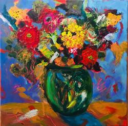 Flowers Poppin 12 x 12 Acrylic $150