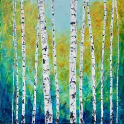 Summer Aspens  24 x 24 (in birch frame) ~  $500