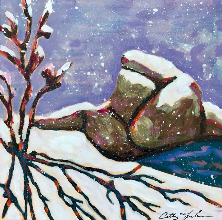 Early Snow on Rocks
