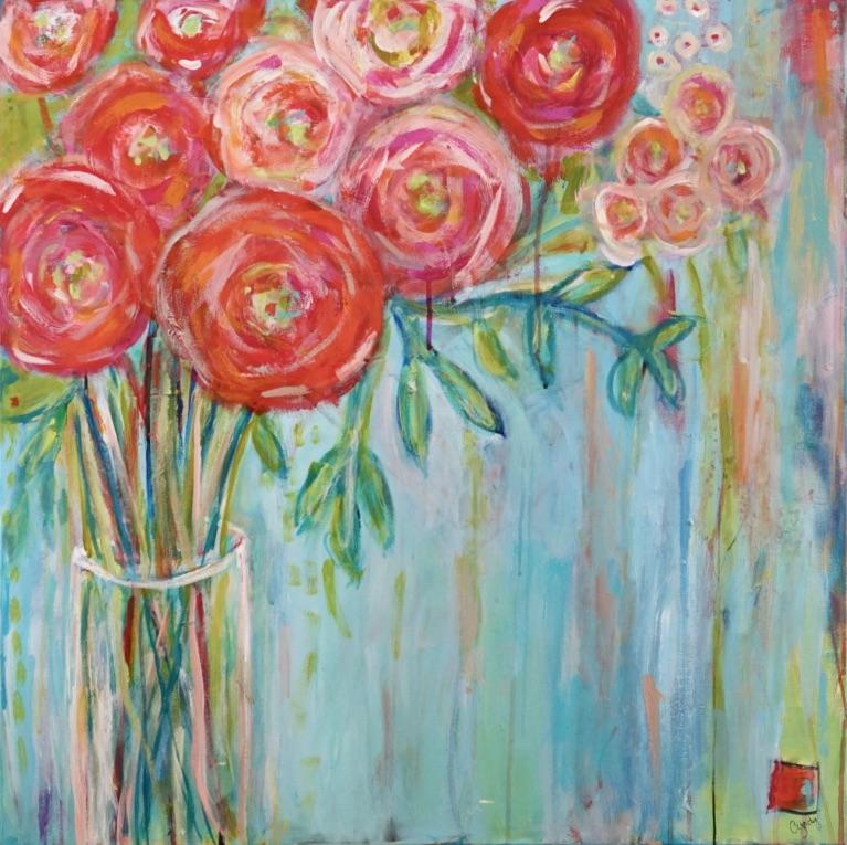 Ete' Bouquet   30 x 30 (in birch frame) $625
