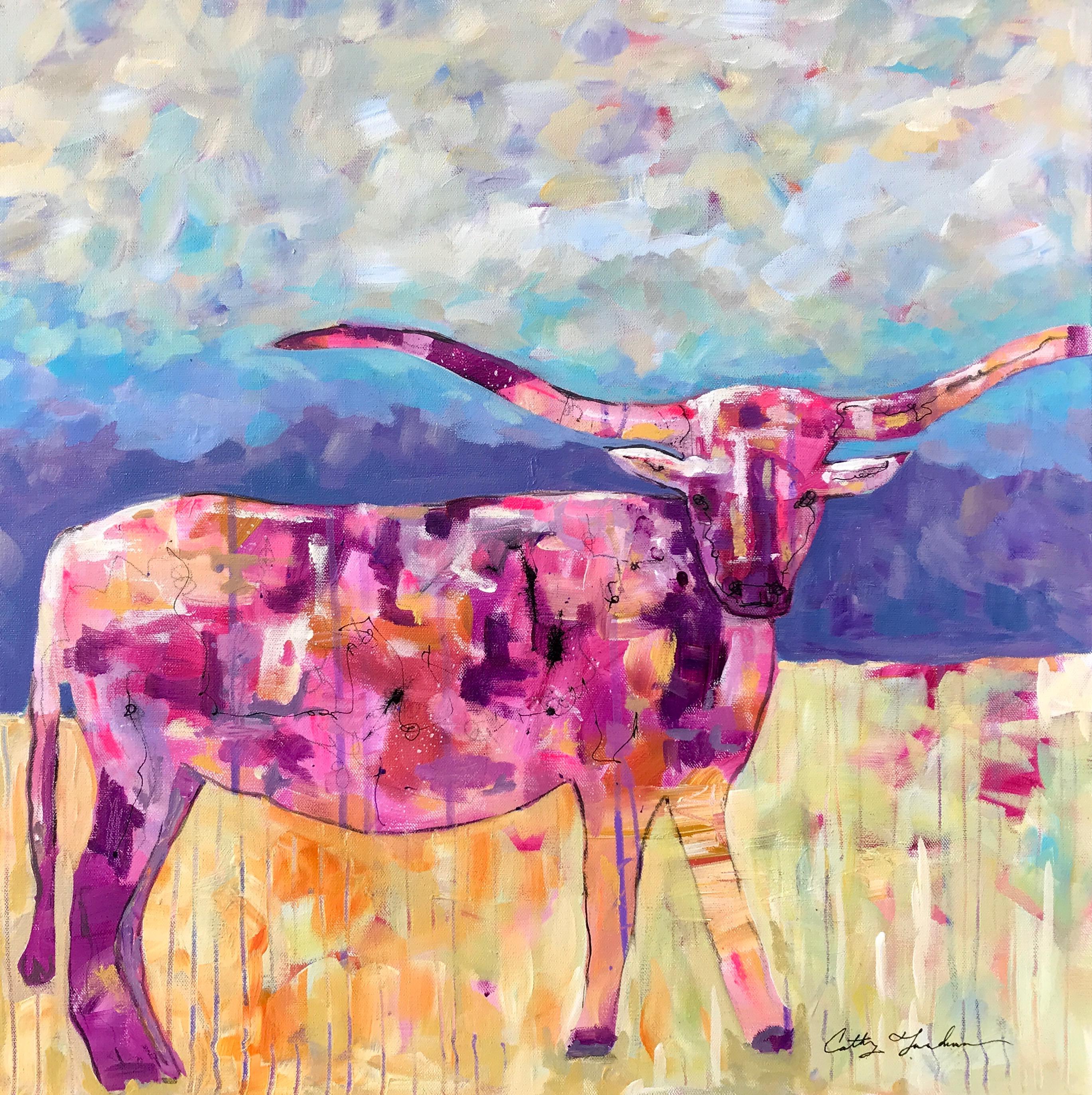 Longhorn - Pink 24 x 24 Acrylic $450