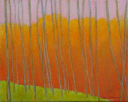 Colorful Landscape, Inspired by Wolf Kahn16 x 20 (in birch frame) $350