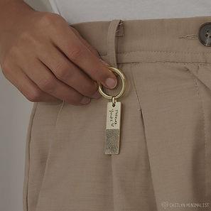 Móc chìa khóa bạc thiết kế khắc tên riêng