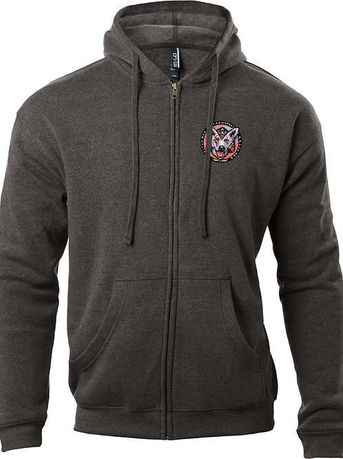 Men's Heavyweight Hoodie--Charcoal Black with Color logo