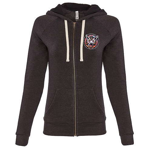 Women's Heavyweight Hoodie--Charcoal Black with Color logo
