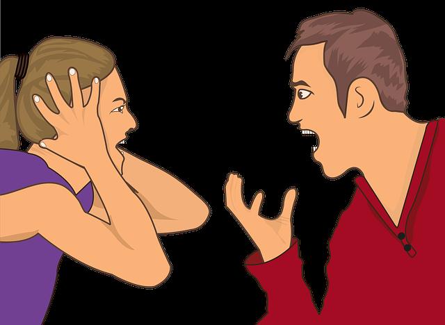 Kuvitettu kuva jossa nainen ja mies huutavat toisilleen