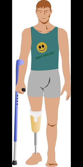 Kuvitettu kuva vihreäpaitaisesta miehestä, jonka oikea jalka on amputoitu